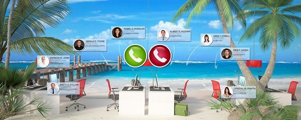 3D rendering of an office installed in a tropical beach and a video conference call